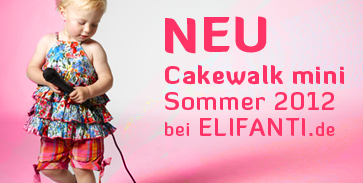 This image shows the cakewalk logo with a mini girls in airy children's clothing by cakewalk, dressed with clothes from the cakewalk mini-summer 2012 collection.