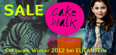 This photo shows the logo of cakewalk with the motto: girly spirit. Through the word sale it is made aware of reduced winter goods. Girls in a comfortably warm children's clothing from cakewalk and in a cakewalk zebra dress in green treasure are shown. Attracted is the child with clothes from the cakewalk-winter collection 2011/2012. The girl who wears a fur vest in color purple-present and including the cakewalk shirt in green-treasure. It also carries a cakewalk tights with flower in gray.