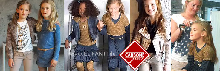 Carbone girls logo with five girls in winter clothes by Carbone: coat, pants, dresses, tights for winter 2013 2014