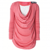 Muy Malo Top mit Wasserfall Text Rapture Rosa