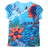 Catimini T-Shirt mit Flower in Blau
