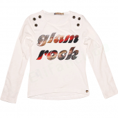 Carbone bequemes LA-Shirt Glam Rock Weiß