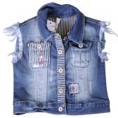 Pampolina colle Jeansweste Denim Blau